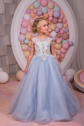 Wholesale Chi Long - Elegant and lovely scoop neckline pretty lilac little girls party dresses cap sleeve lace long prom dresses kids evening graduation gown chi