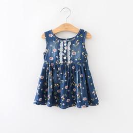 Wholesale Wholesale Linen Vest - Baby Clothes Girls Dress Summer Girls One-Piece Dresses Sleeveless Linen Printed Denim Vest Skirt Kids Clothing XY264