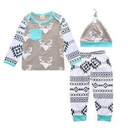 Wholesale Deer Hats Children - INS Newborn Baby Clothes Boys Girls Cotton Printing Cute Deer Infant Casual Long Sleeve T-shirt Pants Hat Children Set Kids Clothing 492