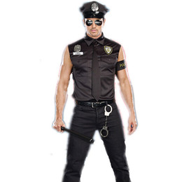 Wholesale Shirt Halloween Adult - Halloween Costumes Adult America U.S. Police Dirty Cop Officer Costume Top Shirt Fancy Cosplay Clothing for Men