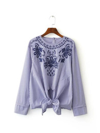 Wholesale Europe Style Long Sleeve Blouses - Europe Styles 2017 Spring All-match Embroidery Striped Blouse Shirt Pullovers O Neck Women Tops Loose Long Sleeve Feminine Blusa