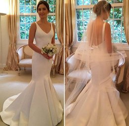 Wholesale French Red Dressing - 2017 Simple Plain Satin Mermaid Wedding Dresses Sexy Backless Sleeveless V Neck Floor Length French Bridal Gowns with Sash