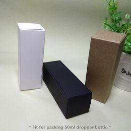 Wholesale Cosmetic Paper - 100pcs- 4*4*11.5cm Blank Paper Box 50ml Dropper Essential Oil Sprays Cosmetics DIY Gift box - Black White Kraft optional
