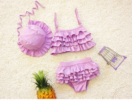 Wholesale Baby Girl Fashion Bikini Pink - 2017 new baby girl summer swimwear hats+tops+briefs swimming suit children girls fashion beach swim clothes set overall euipment
