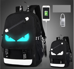 Wholesale Character Usb - USB Charge Luminous backpack men studends bags 9 color travel bag Computer backpack Large capacity shoulderschool bag send anti-theft lock