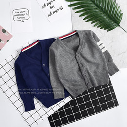 Wholesale Grey Cashmere Sweater - New Baby Boys Sweaters Tops Long Sleeve Knitting Cardigana Autumn Children Clothing Top Toddler Sweaters Grey Blue 5pcs lot A7297