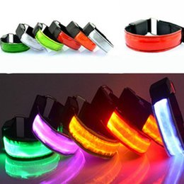 Wholesale Led Flashing Armband - LED Belt Sports Arm Band Arms Package Running Gear Sports LED Flash Armband LED Optical Fiber Light-emitting Arm Band 8 Colors Available
