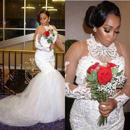 meerjungfrau stil perlen brautkleider Rabatt Plus Size Brautkleider mit Spitze Appliques Illusion Long Sleeves Brautkleider High Neck Perlen Böhmen Brautkleid afrikanischen Stil