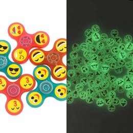 Wholesale Glowing Bike - luminous Glow Emoji Fidget Spinners Triangle Design Hand Spinner EDC Toys For Decompression Anxiety Spinning Top