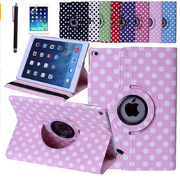 Wholesale Apple Ipad Covers Polka Dot - Polka Dot Case Cover For iPad Air 2 iPad 6 PU Smart Stand 360 Rotating with Screen Protective Film Stylus Pen Free Shipping