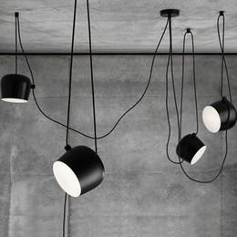 Wholesale Aim Light - LED Lights Aluminium Flos Aim White Black E27 Pendant Lamp Lights LED Bulb Grow Lights Bar Living Room Droplight Lighting Chandeliers Light