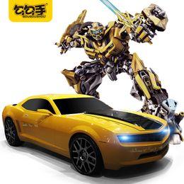 Wholesale Robot Radio - GouGouShou 1:22 RC Transformation Robot Cars 2.4G Radio Control Deformation Bumblebee Car Acousto-optic Effective Children Toys