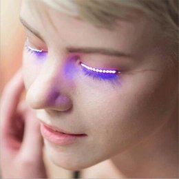 Wholesale Unique Flash - Sunvy Unisex Flashes Interactive LED Eyelashe LED Light Eyelash Shining Eyeliner Charming Unique Waterproof Eyelid Tape Nightclub DJ Deco +E