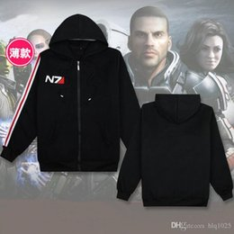 Wholesale Mens Cosplay - Fashion RPG Game Mass Effect 3 N7 top Coat mens Clothes cosplay costume black Sweatshirt unisex cotton tracksuits for men