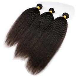 Wholesale Tangle Free Kinky Straight Hair - Virgin mongolian hair 1b kinky straight high quality human hair weave 3pcs no tangle free shipping