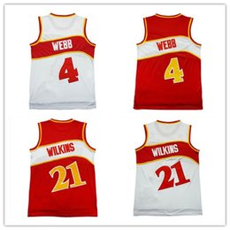 Wholesale Cheap Embroidery Shirts - hot sale #4 Spud Webb jersey #21 Dominique Wilkins Cheap throwback basketball jerseys embroidery logos shirt men Free Shipping