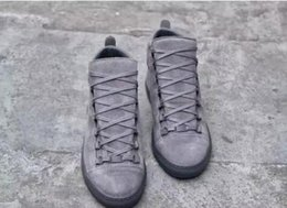 Wholesale Italy Designer Shoes - Italy Top Luxury Designer BL Arena Casual Shoes Men Lacing Leather Arena Suede High-Top Trainers Men Sneakers High Low Cut Black Blue Grey