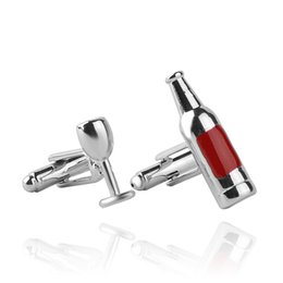 Wholesale Mustaches Glasses - Fashion High quality Cufflink Red wine glass & bottle shape cuff links Popular new Business men and women French shirt cufflinks