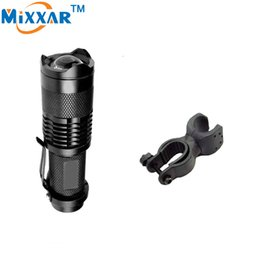 Wholesale New Q5 Led Head Lights - New Arrival 1000LM LED Flashlight LED CREE Q5 Mini Bicycle Light LED Bike Light Front Torch 3 Modes Zoomable Light +1*Holder
