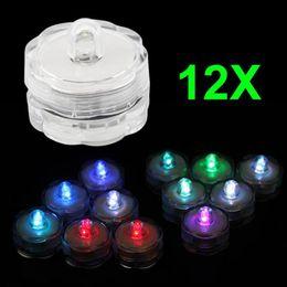 12x LED tauchbares helles flammenloses Batterie-Kerzen-Tee-Licht-Hochzeitsfest