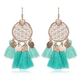Wholesale Embroidery Earrings - otton Tassel Earrings Fashion Statement Drops Earrings For Women Embroidery Fringing Earrings Wholesale