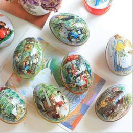 Wholesale Food Paint - Wholesale- Easter Egg Painted Eggshel Tin Boxes Pills Case Wedding Candy Can Jewelry Party Accessory 5pcs lot