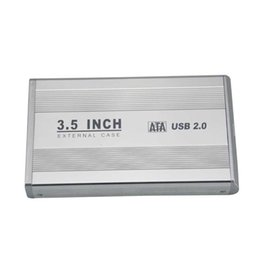 Внешний корпус hdd 3.5 sata онлайн-Wholesale- New 3.5 inch Silver USB 2.0 SATA External HDD HD Hard Drive Enclosure Case Silver