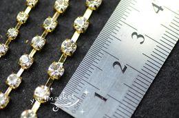 Wholesale Crystal Ss18 - SS6 SS8 SS10 SS12 SS14 SS16 SS18 SS20 888 Crystal Rhinestone Chain Golden Garment Accessories