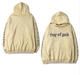 Wholesale Womens Long Hoodies - 2017 New fashion autumn men womens casual hooded sweatshirt Justin Bieber Fear of God hip hop hoodies plus size S-XXXL