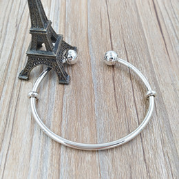 Wholesale Red Bracelet Charms - Authentic 925 Sterling Silver Moments Silver Open Bangle Fits European Pandora Style Jewelry Charms Beads 596477