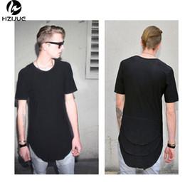 Wholesale Shirt Folding - Justin Bieber Extended T shirt Mens Fishtail Multi Fold Curved Hem Side Zipper Short Sleeve Longline Hip Hop KANYE WEST tees tops for male