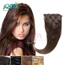 """Wholesale 22 Chocolate Brown Extensions - Chocolate Brown 4 16""""-28"""" Clip In Human Hair Extensions Dark Brown Brazilian Remy Hair with Clip Can Be Full With Head"""