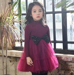 Wholesale Wool Baby Dress - Autumn Winter Baby Girls Dresses Bow wool Splice gauze long sleeve Princess Dress Children Clothing 2-7T B60531