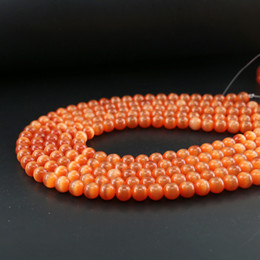 Wholesale Optic Glasses - Bright Red Cats Eye Fiber Optic Glass Round Catseye Beads 6 8 10mm Full Strand 15 inches