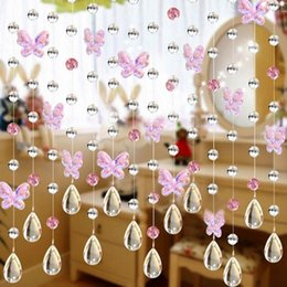 Wholesale Crystal Window Beads - Wholesale-100cm Butterfly Waterdrop Crystal bead curtain Indoor home decor renovation Christmas fashion wedding decoration curtains