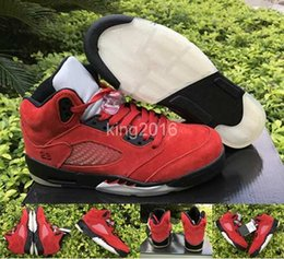 Wholesale Metal Sneakers - 2017 Retro 5 V Mens Women Raging Bull Red Suede Metal Basketball Shoes Retros 5s Varsity Red Woman Men Sports Trainers Sneakers 36-47