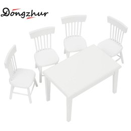 Wholesale Furniture Dining Chair - Wholesale- Dongzhur White 1:12 DollHouse Kitchen DIY Cabin Miniature Dollhouse Furniture Model Toy Decoration Square Dining Table Chair Set