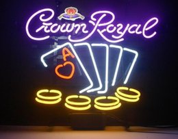 Wholesale Poker Signed - 17*14 Crown Royal Whiskey Poker Chips REAL GLASS BEER BAR NEON LIGHT SIGN