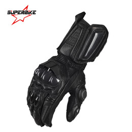 Wholesale Long Genuine Leather Gloves - Wholesale- Motorcycle Gloves Men GP PRO Real Genuine Leather Glove Full Finger Long Cycling Racing Moto Motorbike Motocicleta Guantes Luvas