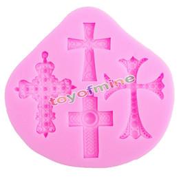 caneta de macarrão Desconto Atacado-gótico cruz jesus silicone fondant molde do bolo de decoração molde de cozimento de chocolate