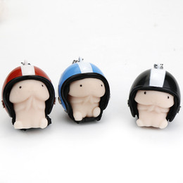 Wholesale Toy Helmet Wholesale - Hot Kawaii Anime Figures Come With a Blue Helmet Hand Lepin Anti Autism and ADHD Time Killer Key Ring