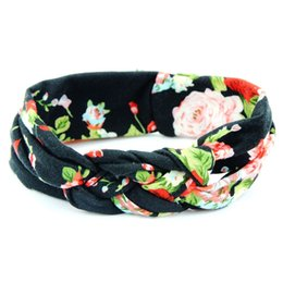 Wholesale Stretch Twist Headband - Baby Toddler Girl Kids Cotton Hairbands Retro Turban Twisted Cross Headband Floral Wide Stretch Hair Band 10 Colors