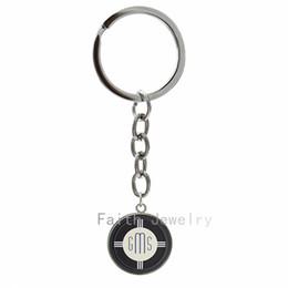 Wholesale Images Boy Accessories - Personalized Poker Chip image key chains Art Deco Monogram Initials Poker Chip picture keychain leisure men accessories 1267