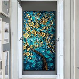 Baum mit goldenen Blume Qualitäts-handgemalte moderne Wand-Dekoration abstrakte Kunst-Ölgemälde auf Canvas.Multi Größen / Rahmenoptionen joj von Fabrikanten