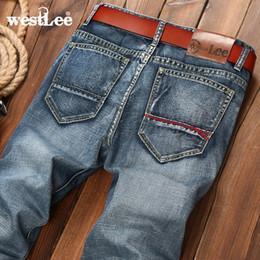 Wholesale Denim Business Casual - Wholesale-new brand men retro design casual straight leg denim jeans male regular fit cotton business cowboy trousers pant vaqueros hombre