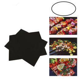 Wholesale black mesh sheet - Non-Stick BBQ Grill Mat Thick Durable 33*40CM Gas Grill barbecue mat Reusable No Stick BBQ Grill Mat Sheet Picnic Cooking Tool