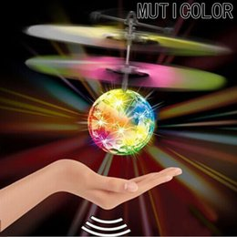 Wholesale Led Mini Usb Cable - Wholesale- Mini Fun Kids Toy New Arrival Flying Crystal Ball LED Flashing Stage Light Aircraft Helicopter For Home Entertainment
