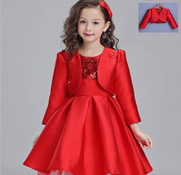 Wholesale Elegant Evening Kids Dresses - Red Elegant Flower Girl Wedding Dresses Evening Party Dresses For Teenager Girl Children Costume Kids Clothes Girl Formal Suit Coat+Dress