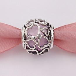 Fazendo amor on-line-925 Grânulos De Prata Rosa Enclausurado No Amor Charme Serve Para Pandora Jóias Estilo Europeu Pulseiras Colar para fazer jóias 792036 PCZ
