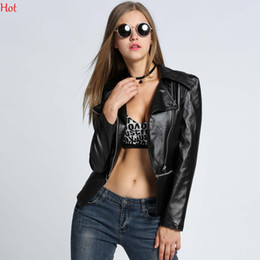 Wholesale New Style Hot Women Jackets - New Fashion Women Motorcycle Coats Slim Fitted Soft Leather Jackets Detachable Zipper Outwear Lapel Spring Lapel Coat Hot Black SVH031415